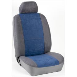 Πλήρες Σετ Καλύμματα Καθισμάτων Αυτοκινήτου από Ύφασμα Alcantara A' Χρώματος Μπλέ Ρουά-Γκρί-Κέντημα
