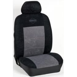 Πλήρες Σετ Καλύμματα Καθισμάτων Αυτοκινήτου από Ύφασμα Alcantara A' Χρώματος Γκρί-Μαύρο-Κέντημα