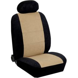 Πλήρες Σετ Καλύμματα Καθισμάτων Αυτoκινήτου από Ύφασμα Alcantara A'  Χρώματος Μπέζ-Μαύρο