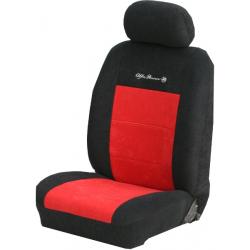Πλήρες Σετ Καλύμματα Καθισμάτων Αυτοκινήτου από Ύφασμα Alcantara A' Χρώματος Κόκκινο-Μαύρο-Κέντημα