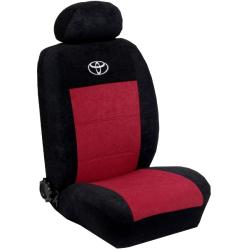 Πλήρες Σετ Καλύμματα Καθισμάτων Αυτοκινήτου από Ύφασμα Alcantara A' Χρώματος Μπορντώ-Μαύρο-Κέντημα