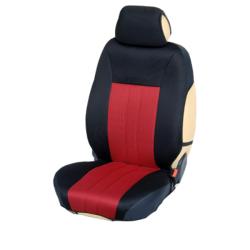Ημικαλύμματα Εμπρόσθιων Καθισμάτων Αυτοκινήτου από Ύφασμα Αεριζόμενο Τρυπητό R' Χρώματος Κόκκινο-Μαύρο Τεμάχια Δύο