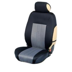 Ημικαλύμματα Εμπρόσθιων Καθισμάτων Αυτοκινήτου από Ύφασμα Αεριζόμενο Τρυπητό R' Χρώματος Γκρί-Μαύρο Τεμάχια Δύο