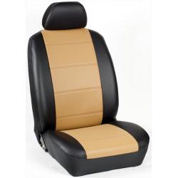Πλήρες Σετ Καλύμματα Καθισμάτων Αυτοκινήτου από Ενισχυμένη Δερματίνη Χ'' Χρώματος Ταμπά-Ανοιχτό Μαύρο