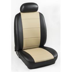 Πλήρες Σετ Καλύμματα Καθισμάτων Αυτοκινήτου από Ενισχυμένη Δερματίνη Χ'' Χρώματος Μπέζ-Μαύρο