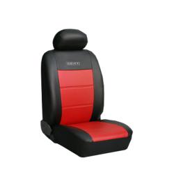 Πλήρες Σετ Καλύμματα Καθισμάτων Αυτοκινήτου από Δερματίνη D Χρώματος Κόκκινο-Μαύρο Κέντημα