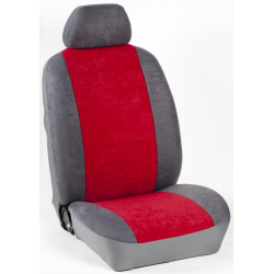 Πλήρες Σετ Καλύμματα Καθισμάτων Αυτoκινήτου από Ύφασμα Alcantara A'  Χρώματος Κόκκινο-Γκρί