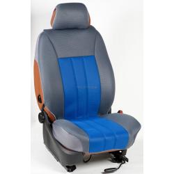 Ημικαλύμματα Εμπρόσθιων Καθισμάτων Αυτοκινήτου από Ύφασμα Αεριζόμενο Τρυπητό R' Χρώματος Μπλέ Ρούα-Γκρί Τεμάχια Δύο