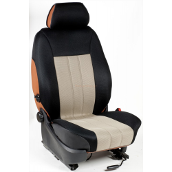 Ημικαλύμματα Εμπρόσθιων Καθισμάτων Αυτοκινήτου από Ύφασμα Αεριζόμενο Τρυπητό R' Χρώματος Μπέζ-Μαύρο Τεμάχια Δύο