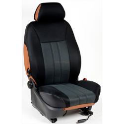 Ημικαλύμματα Εμπρόσθιων Καθισμάτων Αυτοκινήτου από Ύφασμα Αεριζόμενο Τρυπητό R' Χρώματος Σκούρο Μαύρο - Μαύρο Τεμάχια Δύο