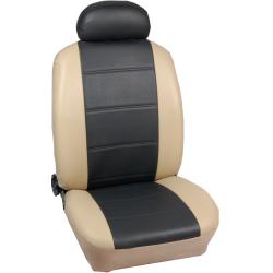 Πλήρες Σετ Καλύμματα Καθισμάτων Αυτοκινήτου από Δερματίνη D Χρώματος Μαύρο-Μπέζ