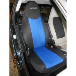 Ημικαλύμματα Αυτοκινήτου από Ύφασμα Αεριζόμενο Τρυπητό R' για Smart Χρώματος Μπλέ-Μαύρο Τεμάχια Δύο