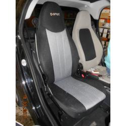 Ημικαλύμματα Αυτοκινήτου από Ύφασμα Αεριζόμενο Τρυπητό R' για Smart Χρώματος Γκρί-Μαύρο Τεμάχια Δύο