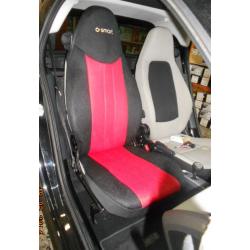 Ημικαλύμματα Αυτοκινήτου από Ύφασμα Αεριζόμενο Τρυπητό R' για Smart Χρώματος Κόκκινο-Μαύρο Τεμάχια Δύο