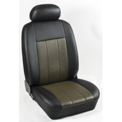 Πλήρες Σετ Καλύμματα Καθισμάτων Αυτοκινήτου από Ενισχυμένη Δερματίνη Χ' Χρώματος Λαδί-Μαύρο