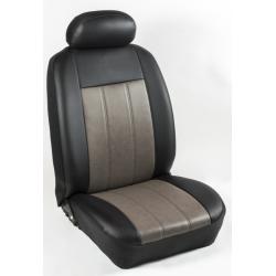 Πλήρες Σετ Καλύμματα Καθισμάτων Αυτοκινήτου από Ενισχυμένη Δερματίνη Χ''  Χρώματος Ελεφαντί-Μαύρο Φάσα