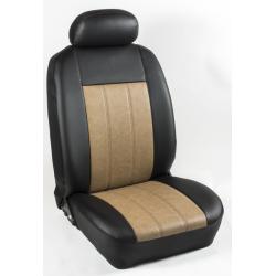 Πλήρες Σετ Καλύμματα Καθισμάτων Αυτοκινήτου από Ενισχυμένη Δερματίνη Χ' Χρώματος Κάμελ-Μαύρο Φάσα