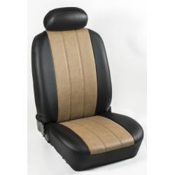 Πλήρες Σετ Καλύμματα Καθισμάτων Αυτοκινήτου από Ενισχυμένη Δερματίνη Χ'' Χρώματος Κάμελ-Μαύρο