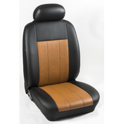 Πλήρες Σετ Καλύμματα Καθισμάτων Αυτοκινήτου από Ενισχυμένη Δερματίνη Χ'' Χρώματος Ταμπά-Μαύρο Φάσα