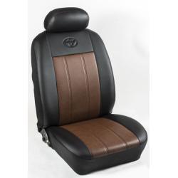 Πλήρες Σετ Καλύμματα Καθισμάτων Αυτοκινήτου από Ενισχυμένη Δερματίνη Χ'  Χρώματος Καφέ Ανοιχτό-Μαύρο Φάσα