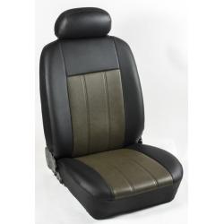Πλήρες Σετ Καλύμματα Καθισμάτων Αυτοκινήτου από Ενισχυμένη Δερματίνη Χ'  Χρώματος Λαδί-Μαύρο Φάσα
