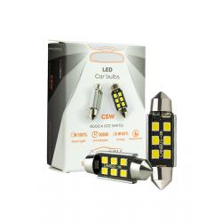ΛΑΜΠΑ LED 6PCS SMD CANBUS WHITE COLOR (6000K) T10X36MM CARTECH